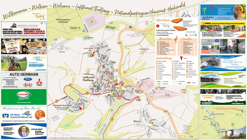 Hunsrück Hochwald Karte.Ortsplan Thalfang
